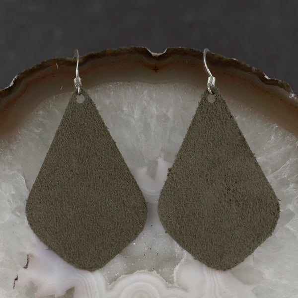 Suede Drop Earrings - Forest Green - w