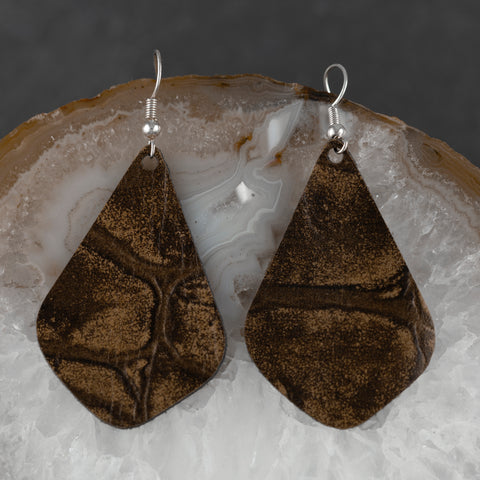 Leather Drop Earrings - Brown & Tan - w