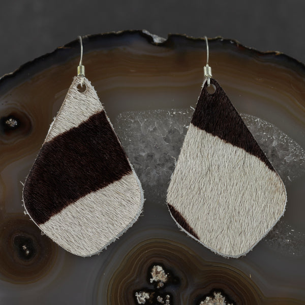 Leather Drop Earrings - Black & White Hide