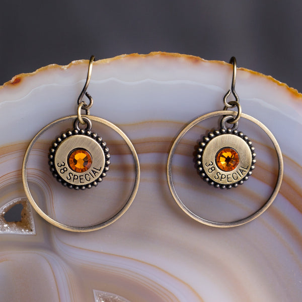 Southern Charm Earrings Gold/Topaz Crystals w