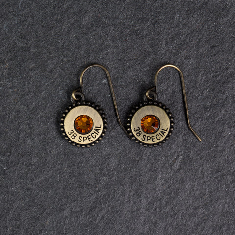 Charm Earrings Gold/Topaz Crystals - w