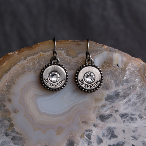 Charm Earrings Silver/Clear Crystals - w