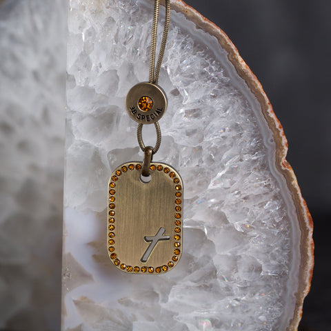 Tilted Cross Tag Gold/Topaz Crystal Necklace
