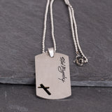 Dog Tag Cross Necklace - God's Warrior, back