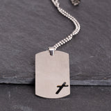 Dog Tag Cross Necklace - God's Warrior