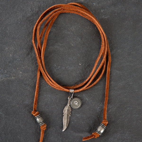 Leather Choker - Brown w