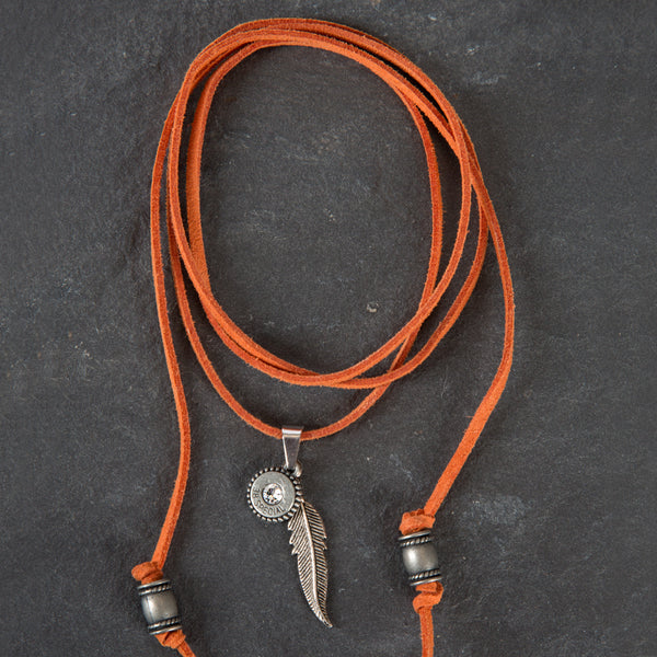 Leather Choker - Orange w
