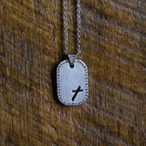 Tilted Cross Tag - Sterling Silver Necklace by Steel Magnolia Jewelry