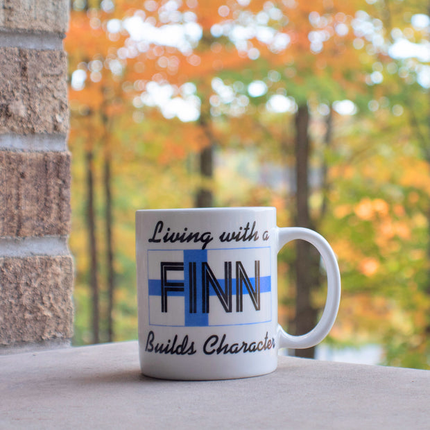 Finnish Coffee Mug - Living with a Finn Builds Character