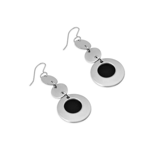 Pohjolan Helmi - Trioli Earrings, Onyx Black