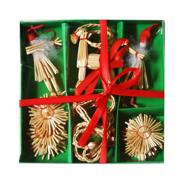 Straw Ornament Assortment Boxed Set (21 pc)