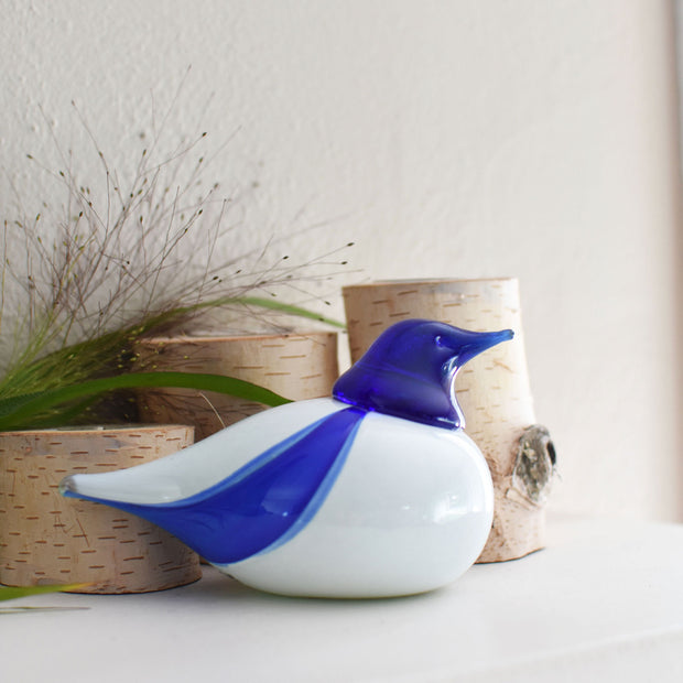 Bianco Blu Finnish Glass Bird, Finland Bird