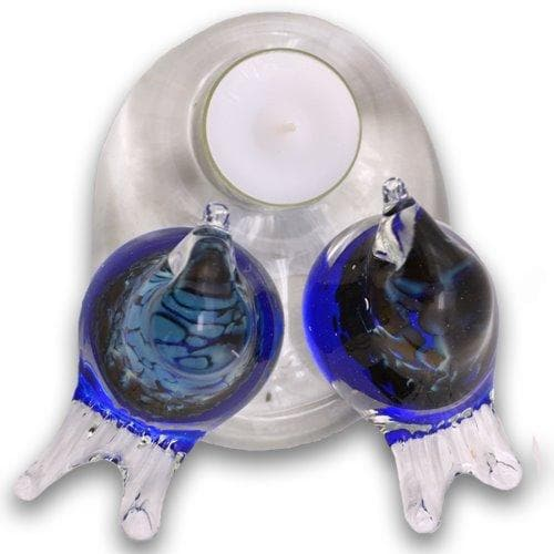 Bianco Blu Finnish Glass Bird, Love Birds Candle Holder Finnish Glass Bird Bianco Blu (10614016646)