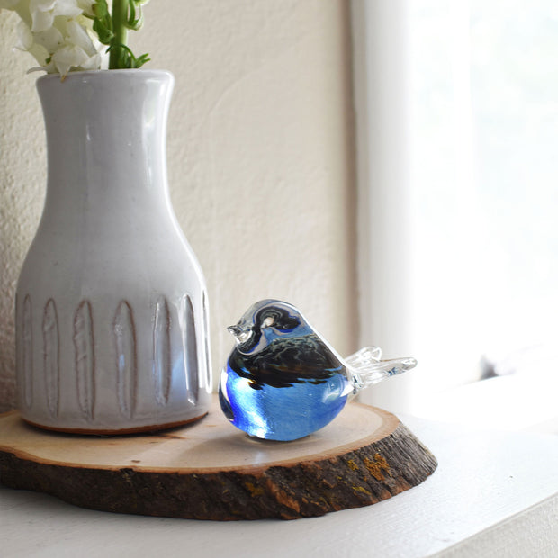 Bianco Blu Finnish Glass Bird, Peacock Blue Chickadee