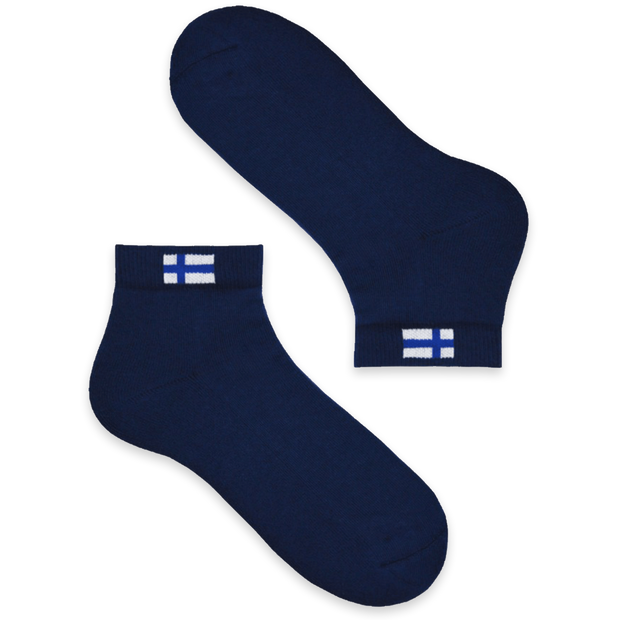 Cushioned Low-Cut Finland Flag Socks, Blue