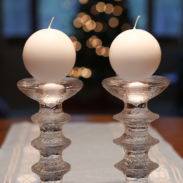 Finnish Footed Ball Candle White (Set of 2)
