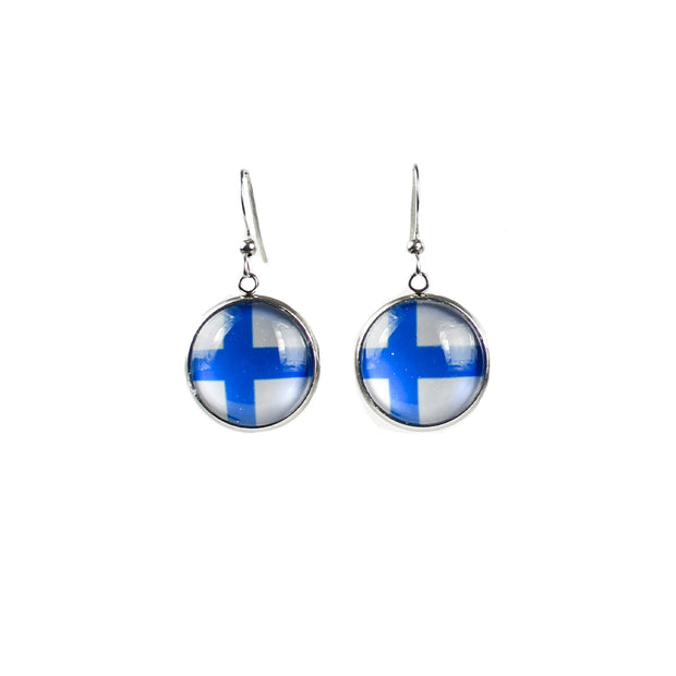 Finnish Flag Earrings (4316419555406)