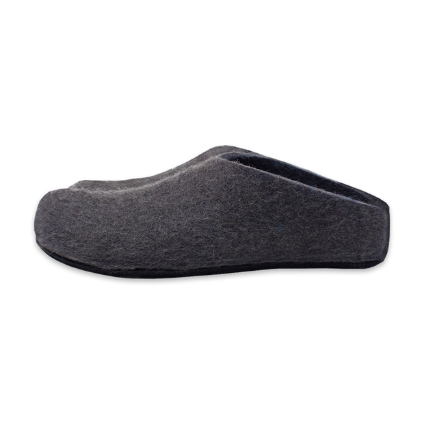 Lahtiset Felt Slippers w/ Rubber Sole, Dark Grey