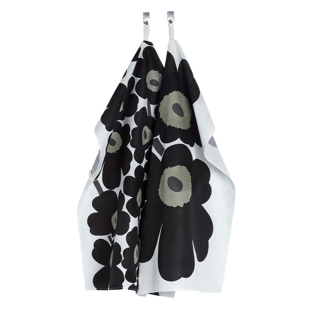 Marimekko Black Unikko Tea Towels - Set of 2