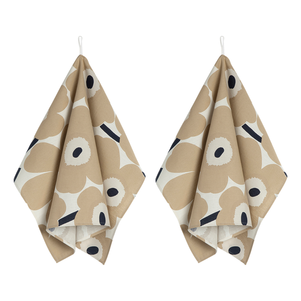 Marimekko Beige Unikko Tea Towels - Set of 2