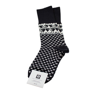 Merino Wool Socks - Hearts, Black