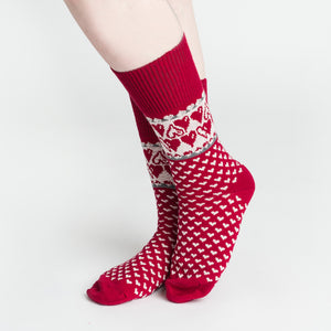 Merino Wool Socks - Hearts, Red