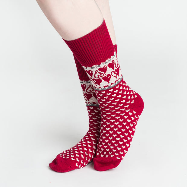 Merino Wool Socks - Hearts, Red (4416458457166)