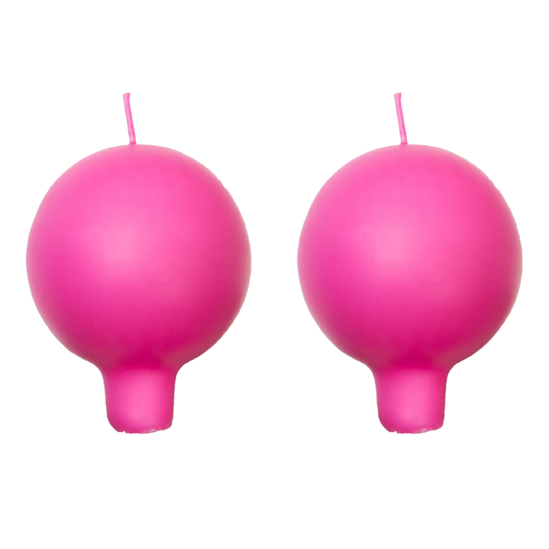 Finnish Footed Ball Candle Pink (Set of 2)