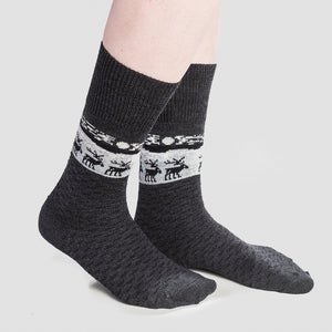 Merino Wool Socks - Reindeer, Grey