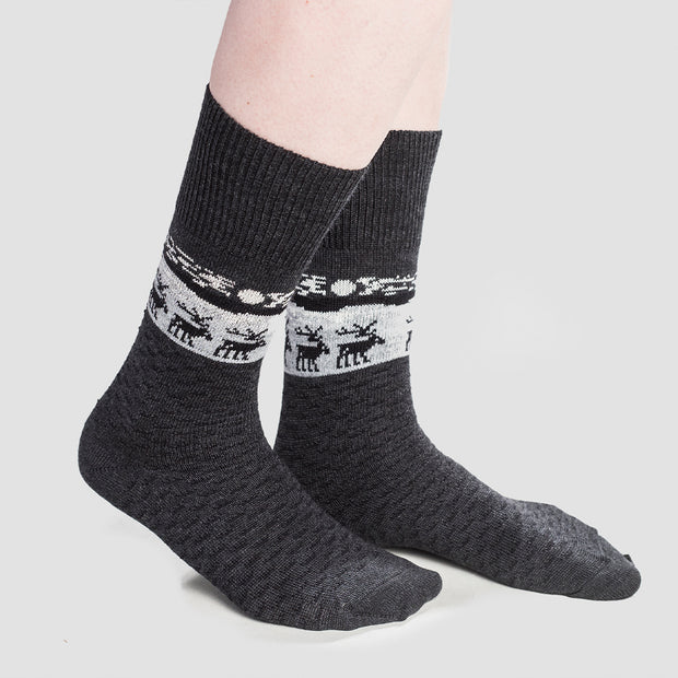 Merino Wool Socks - Reindeer, Grey (4416474316878)