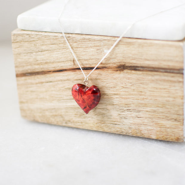 Red Birch Heart Necklace 20""