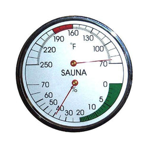 "Sauna Thermometer & Hygrometer - Chrome 4"" Sauna Thermometer Touch of Finland"
