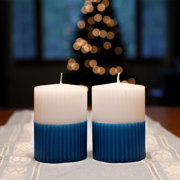 Puttipaja Blue/White Candles, Set of 2