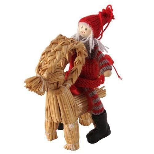 Straw Ornament - Girl & Julbok