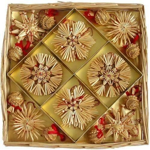 Straw Ornaments Boxed Assortment (56 pc)