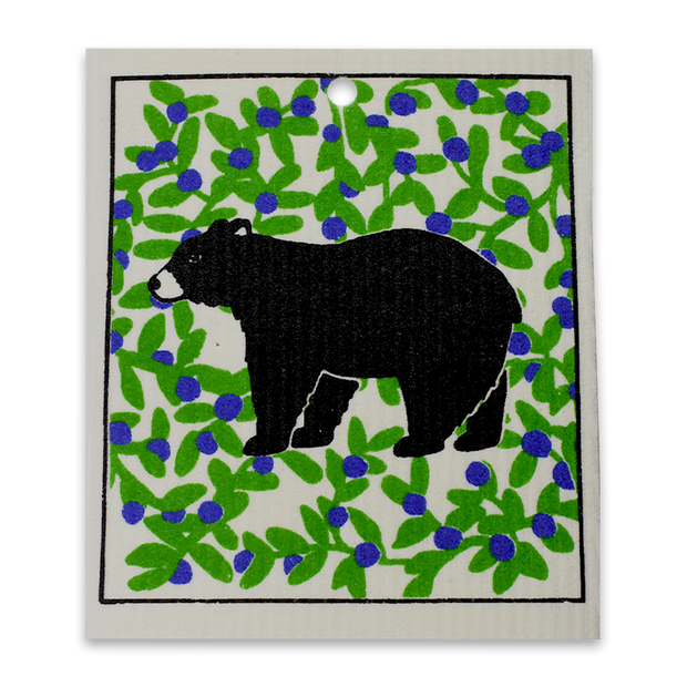 Swedish Dishcloth - Black Bear in Blueberry Field