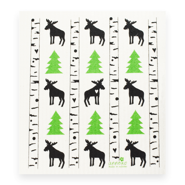 Swedish Dishcloth - Moose in Birch Forest