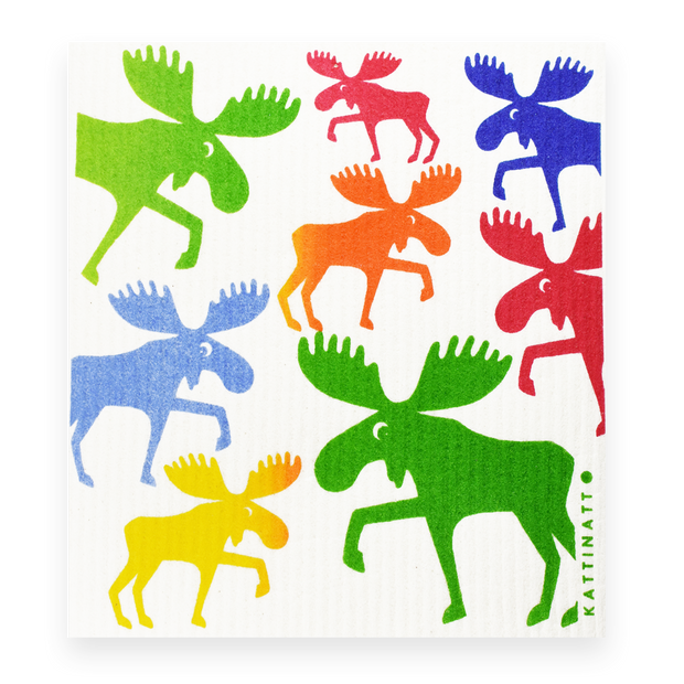 Swedish Dishcloth - Colorful Moose