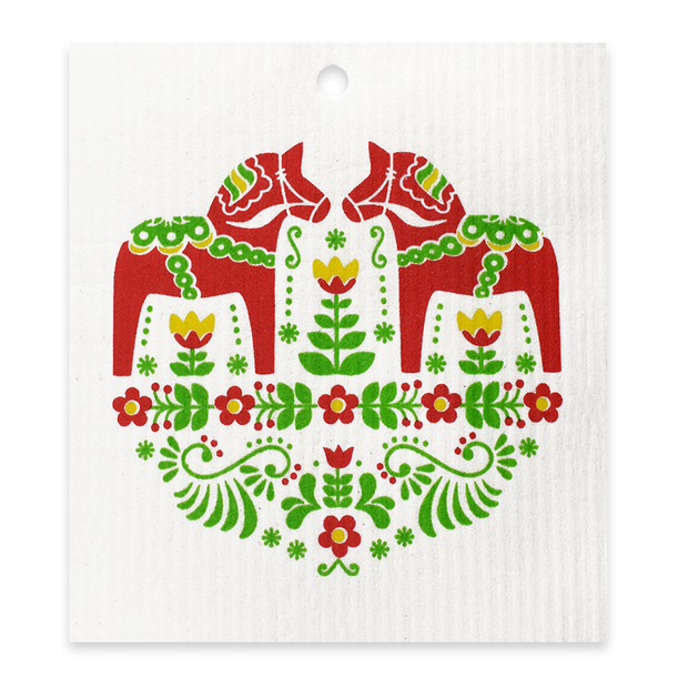 Swedish Dishcloth - Dala Horse Red
