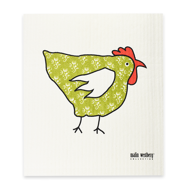 Swedish Dishcloth - Rooster Green