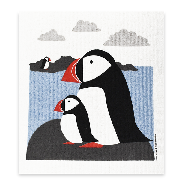 Swedish Dishcloth - Puffins
