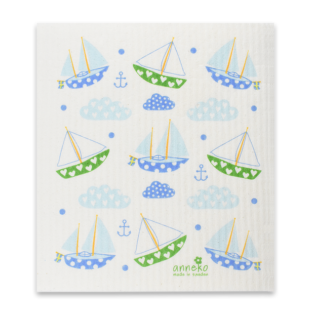 Swedish Dishcloth - Sailboats