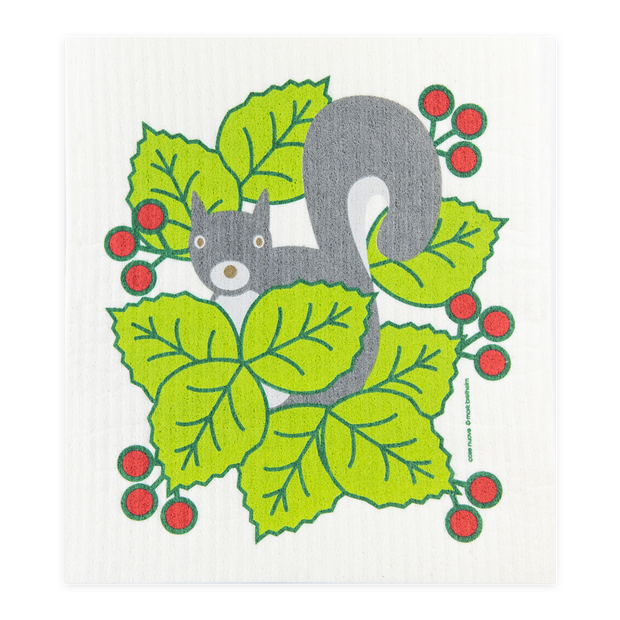 Swedish Dishcloth - Squirrel with Berries