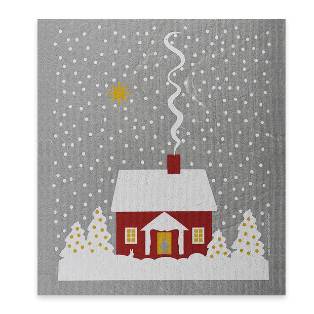 Swedish Dishcloth - Snowy Red House