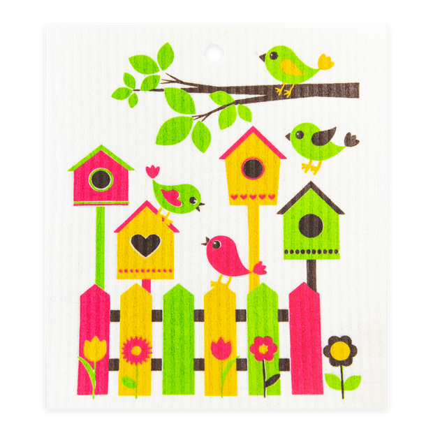 Swedish Dishcloth - Birdhouse & Friends