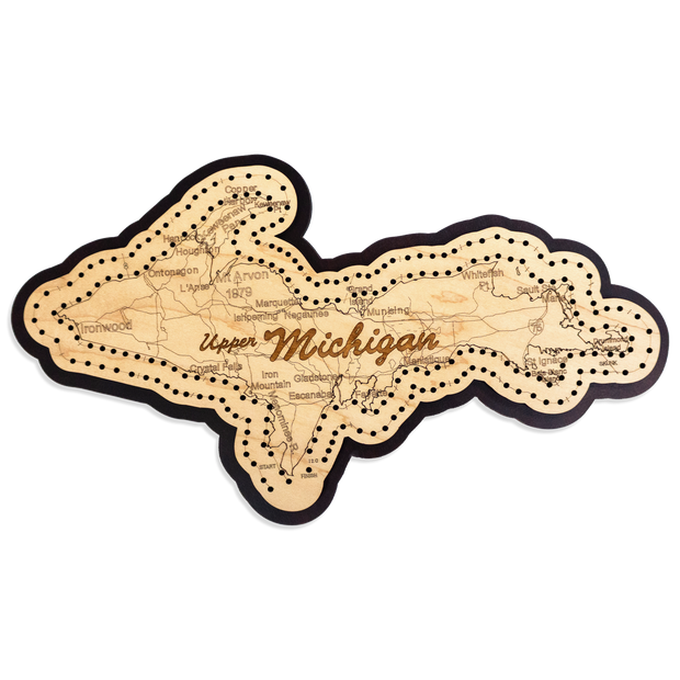 Cribbage Board - Upper Michigan Map