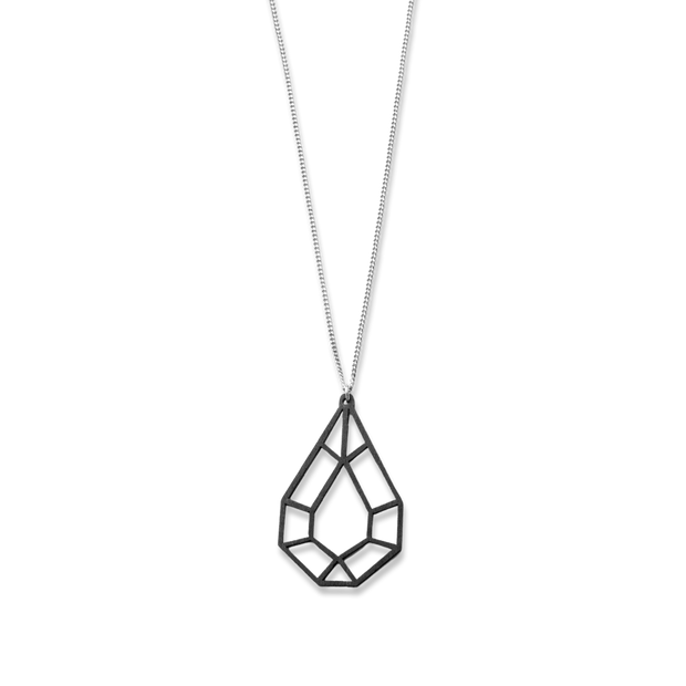 Valona Drop Birch Necklace, Black