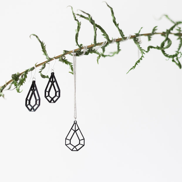 Valona Small Drop Birch Earrings, Black