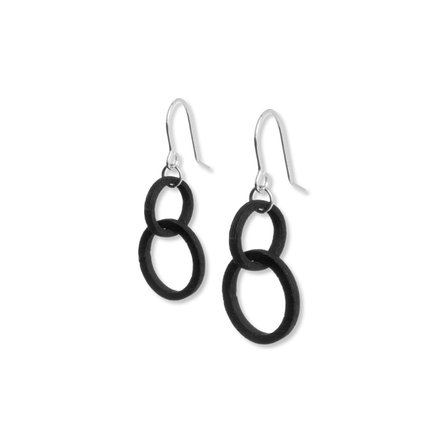 Valona Mini Halo Birch Earrings, Black