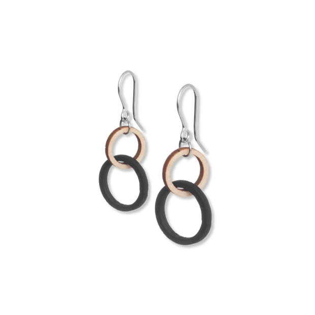 Valona Mini Halo Birch Earrings, Natural/Black